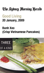 Bau Truong in SMH Good Living Three of a Kind, Banh Xeo Vietnamese pancake